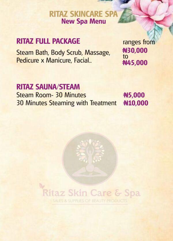 Ritaz Skin Care & Spa Price List
